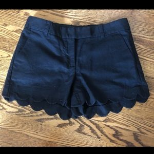 J Crew black shorts with scallops on ends